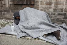 Homeless Man Sleep On Street