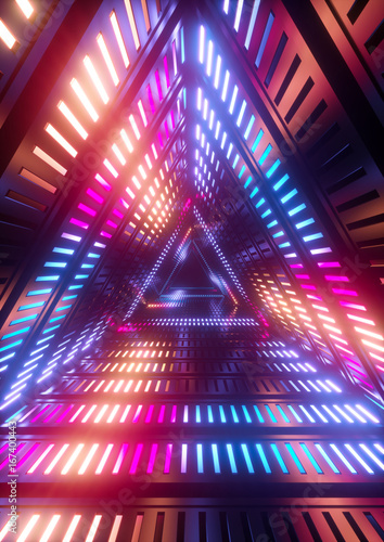 3d render, neon lights, triangle tunnel, abstract geometric background - 167400443
