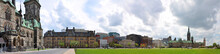 Panorama Of Square In Front Of Parliament Buildings In Downtown Ottawa, Ontario, Canada.