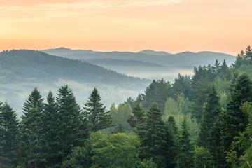 Fototapeta Do gabinetu lekarskiego/szpitala Sunrise in Ustrzyki Dolne. Mieszczady mountains.
