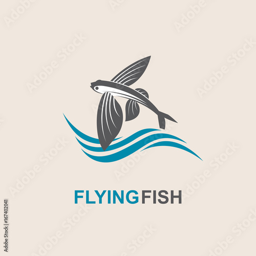 Carta da parati icon of flying fish with waves