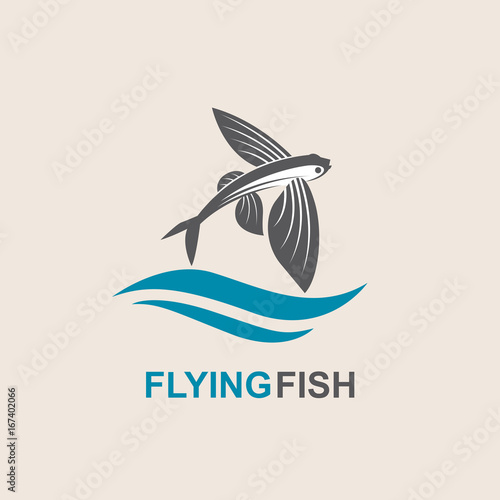 icon of flying fish with waves Fototapeta