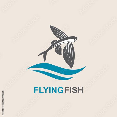 Valokuvatapetti icon of flying fish with waves