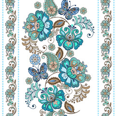 Striped pattern with flowers. Fantastic floral seamless ornament with decorative butterflies. Vintage flowers seamless ornament in blue colors. Floral wallpaper