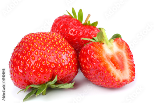Staande foto Vruchten Strawberry isolated on white background. Clipping Path
