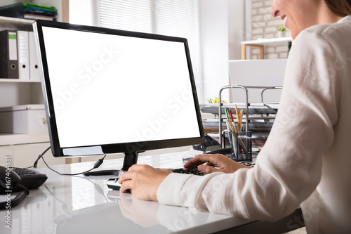Fotografia Businesswoman Working On Computer