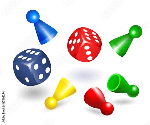 Leinwand Poster Spielwürfel, in rot und blau, Spielfiguren, Spielsteine, Halmakegel, Halmafigur,
