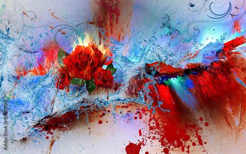 Foto auf AluDibond Schmetterlinge im Grunge elements coloursplash