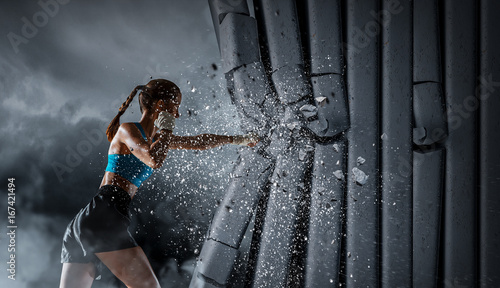 Young boxer woman . Mixed media Wallpaper Mural