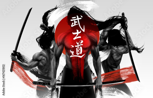 Photo  Illustration of black and white muscular samurai figures posing with swords and red striped grunge lines, Bushido word - a Japanese term describing a codified samurai way of life