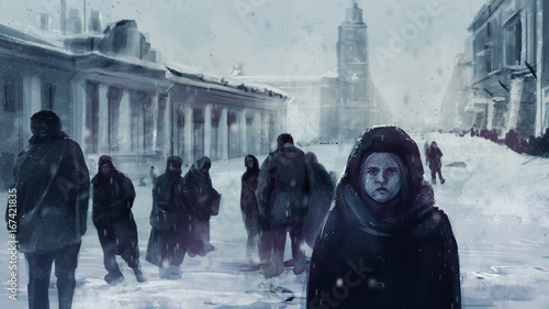 Valokuva Illustration of a starving child on a front and people walking on winter streets of Leningrad siege during The Great Patriotic War