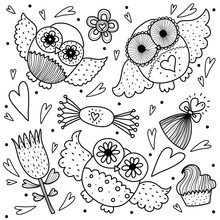 Owls, Love And Sweets. Colorin...