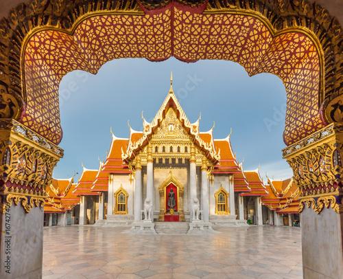 Poster Lieu connus d Asie Wat Benchamabophit or Marble Temple of Bangkok, Thailand