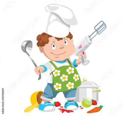 Fotobehang Indiërs Little boy with a spoon and a mixer plays the chef. Isolated cartoon characters. Vector illustration