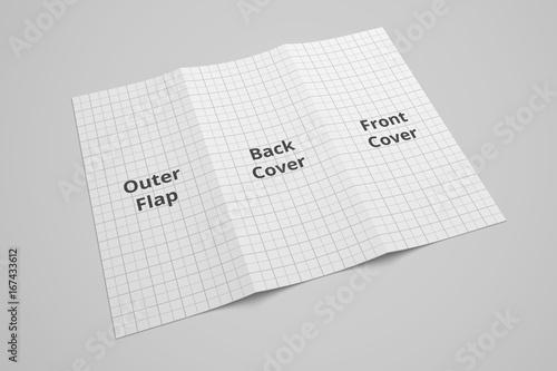 us letter tri fold brochure 3d illustration mockup with grid no 5
