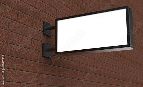 Photo Backlit signage board, led glow advertising board, vinyl company sign on brick wall