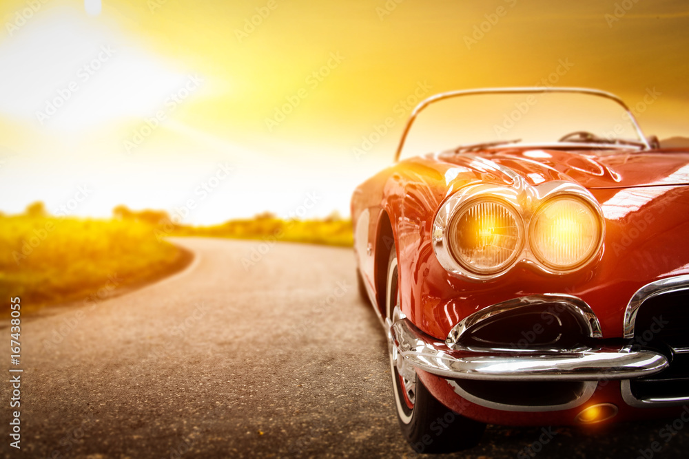Fototapeta car and sunset time