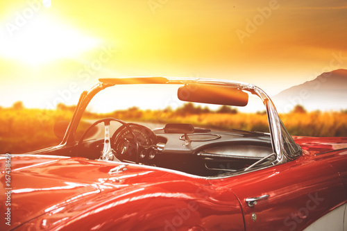 Foto auf AluDibond Oldtimer car and sunset time
