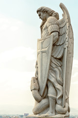 Statue of the Archangel Michael near the Basilica of Guadalupe i