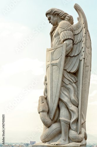 Canvas Statue of the Archangel Michael near the Basilica of Guadalupe i