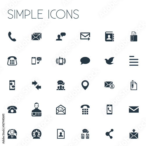 vector illustration set of simple contact icons  elements pin  resume  new