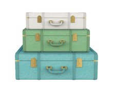 Pile Of Vintage Suitcases Isolated