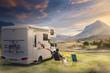 canvas print picture - Urlaub mit dem Wohnwagen in der Natur