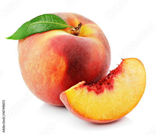Peach with slice and leaf isolated on white background