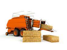 Press Baler Hay Bales Orange 3...