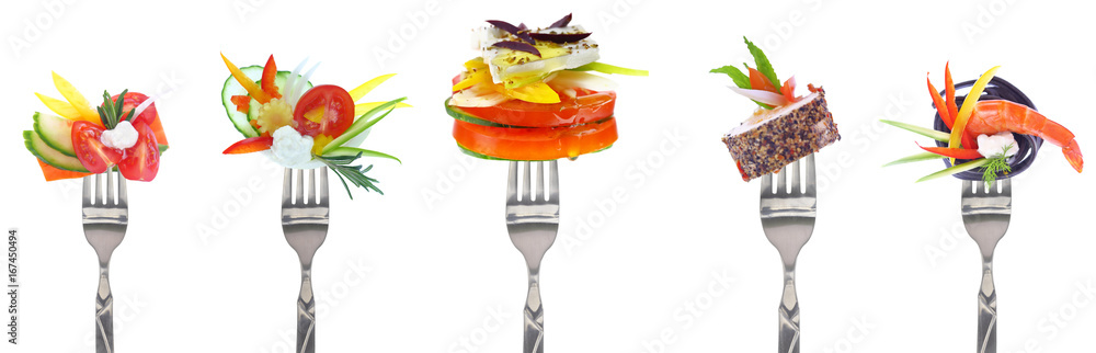 Fototapety, obrazy: Variety of vegetables and cheeses on forks - white background