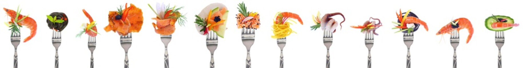 Fototapeta Variety of seafood starters - white background