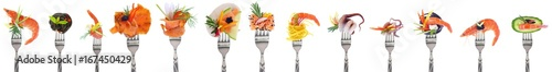 Foto Variety of seafood starters - white background