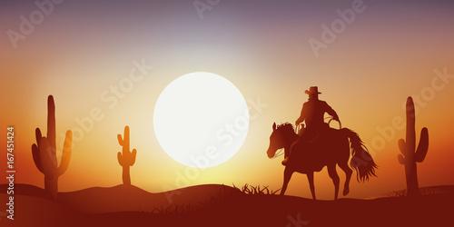 Billede på lærred cow-boy - coucher de soleil - cheval - paysage, western, désert - cactus
