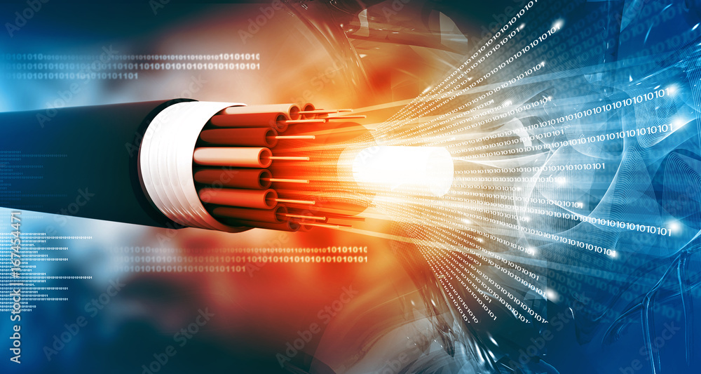 Fototapeta Optical fiber cable with binary cods. 3d illustration .