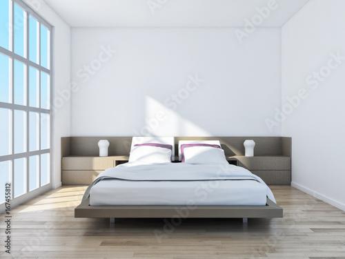 Modern bright bed room interiors d rendering u kaufen sie diese