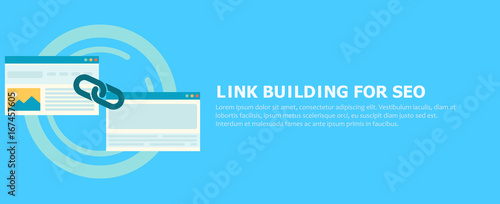 Fotografia  Link building for seo banner. Two pages are connected by a chain