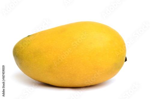 Fotografia, Obraz  Fresh ripened yellow mango isolated on white background