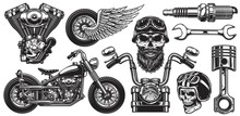 Set Of Monochrome Motorcycle E...
