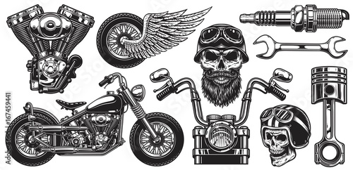 Leinwand Poster Set of monochrome motorcycle elements