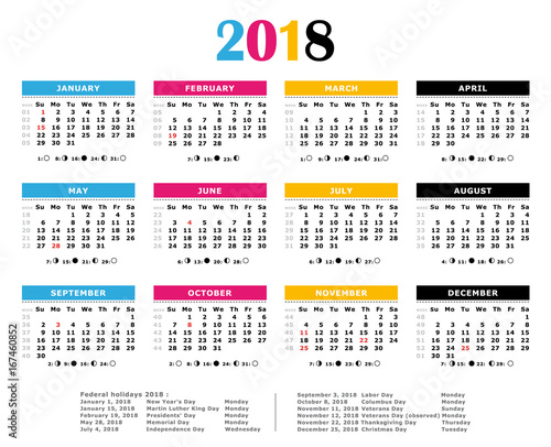 2018 yearly calendar cmyk print colors federal holidays moon and numbers of weeks