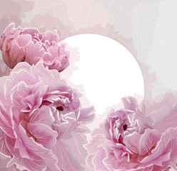 Panel Szklany Peonie Pink peony flowers background with a round label