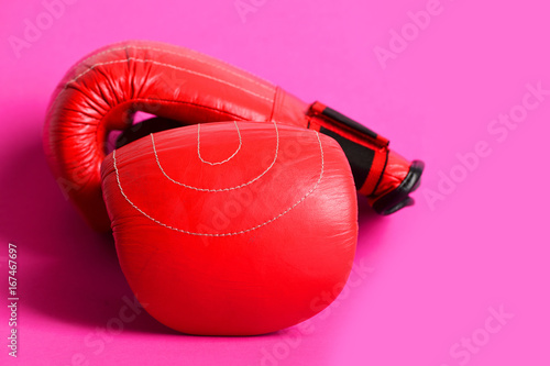 Photo  Duet of red and black gloves for professional boxing