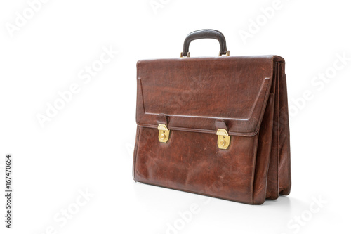 Old leather briefcase Canvas Print