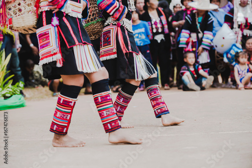 Vászonkép Unidentified people of chiang mai hill tribe dance show and walk show with smile