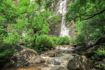 Khlong Lan Waterfall the natural attractions in Thailand. And very beautiful.