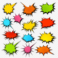 Collection Of Templates Speech Bubbles In Pop Art Style. Elements Of Design Comic Books. Set Of Colorful Starburst With Place For Text. Colored Vector Stickers.