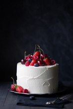 Cake Decorated With Fresh Berries