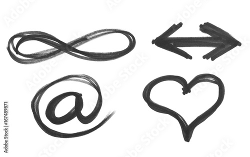 E Mail Heart Arrow And Symbol Of Infinity Black Marker Isolated