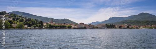 View from Lake Maggiore to Colmegna - Luino, Lake Maggiore, Lombardy, Italy, Eur Canvas Print