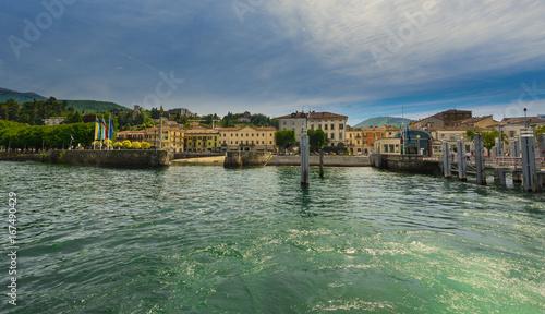 The port of Luino at Lake Maggiore - Luino, Lake Maggiore, Lombardy, Italy, Euro Canvas-taulu